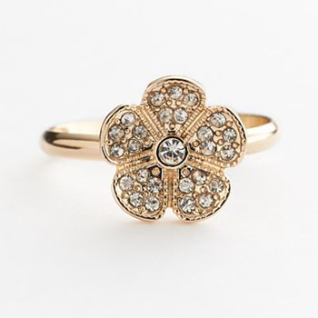 LC Lauren Conrad Gold Tone Simulated Crystal Flower Ring