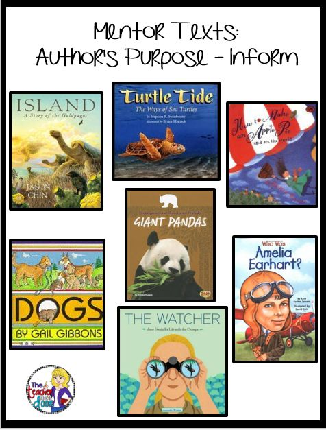 Mentor texts and lots of ideas to help you teach Author's Purpose:To inform