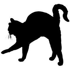 [フリーイラスト素材] クリップアート, 猫 / ネコ, 哺乳類, 動物 / 生き物, 動物 (シルエット), 黒色 / ブラック, 黒猫, EPS ID:201406031600