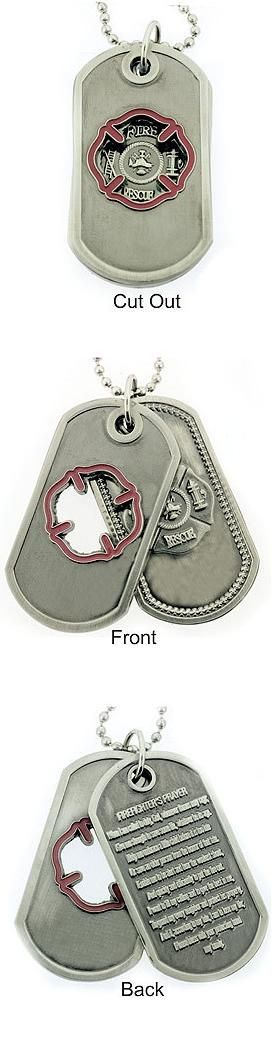 Firefighter Prayer Brushed Steel Cutout Double Dog Tags   Shared by LION