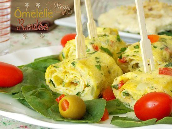 recette omelette roulée aux herbes, oignons et poivron | Le Blog cuisine de Samar