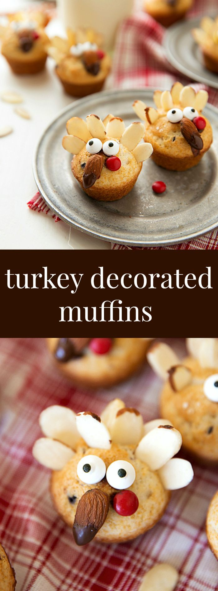 These cute miniature turkey muffins are an easy to make festive treat for Thanksgiving. Plus RECIPE VIDEO