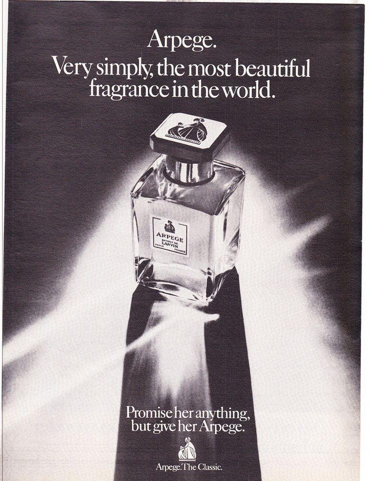 "1974 Lanvin Arpege Perfume Ad ""Glass Bottle"""