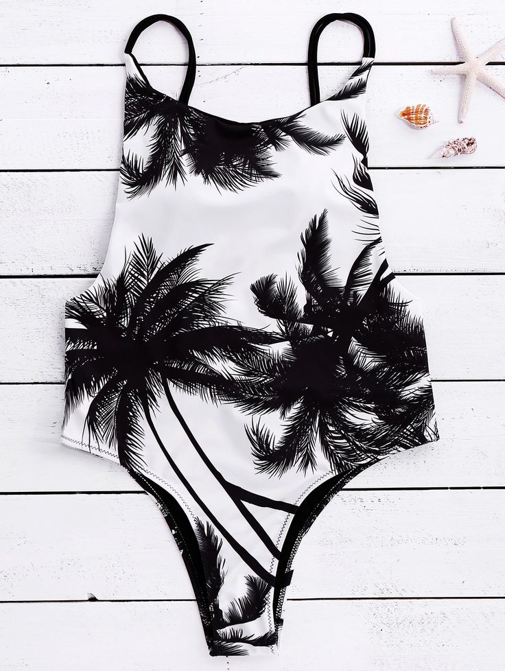 One-Pieces | White and black Spaghetti Strap Coconut Tree Print Tropical Backless Swimwear - Gamiss