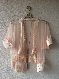 Image of Crochet trim romantic  sheer mesh gypsy peach Autumn dreams Fall kimono