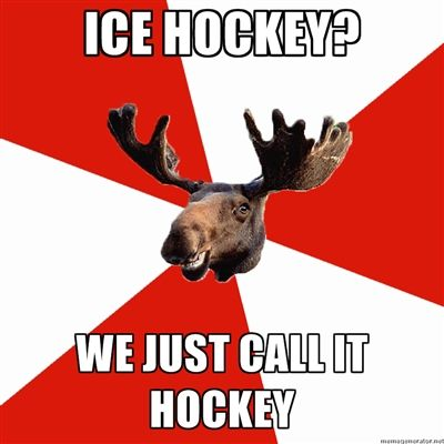 Stereotypical Canadian Moose - Ice hockey? We just call it hockey