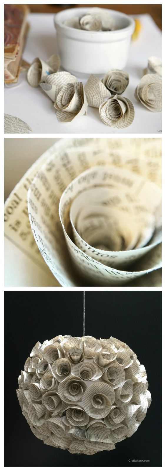 DIY book page paper flower hanging orb or magicalness #papercraft #cool