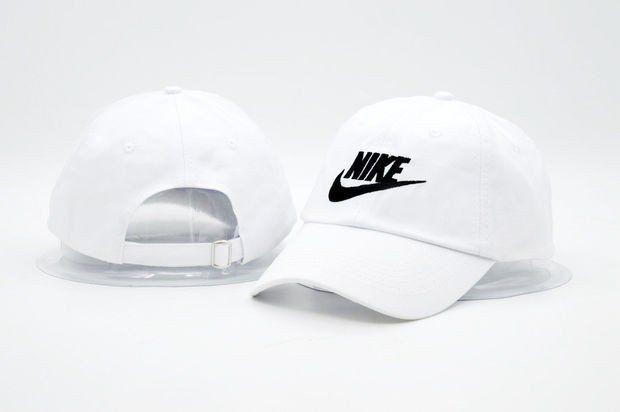White NIKE Embroidered Baseball Cap Hat