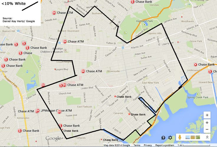 Chase Bank locations in a <10% White area of Brooklyn (Map Credit: Google)