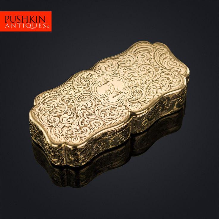 ANTIQUE 19thC VICTORIAN 18K GOLD SNUFF BOX, NATHANIEL MILLS c.1851