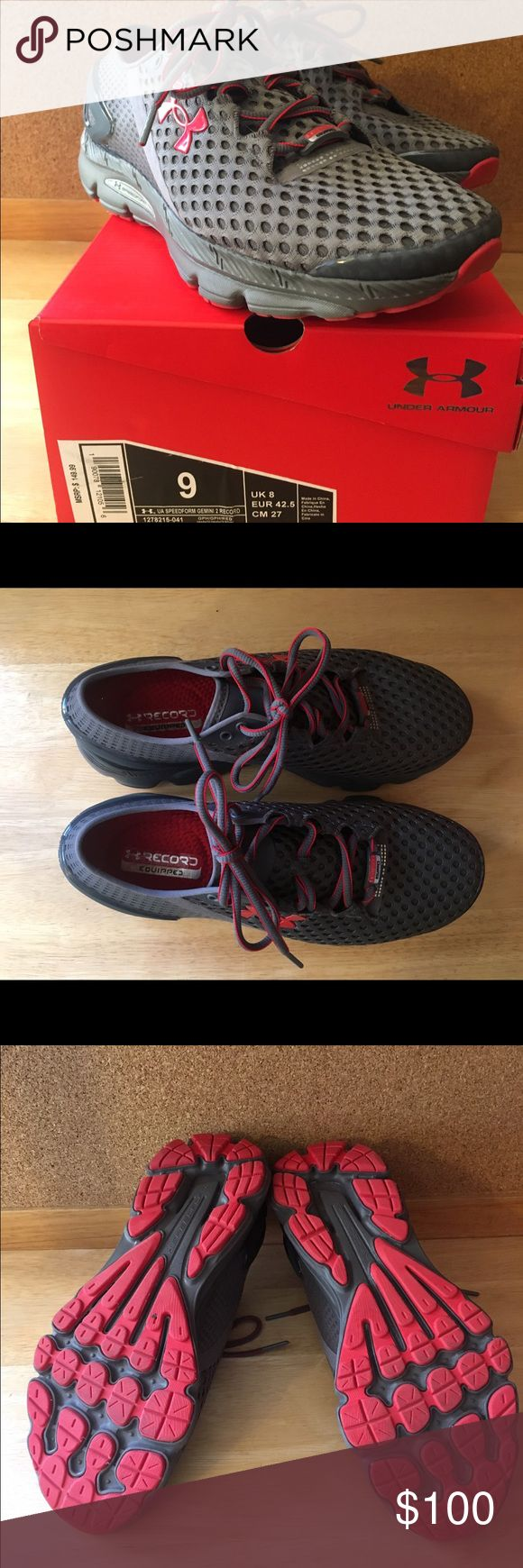 UNDER ARMOUR Men's Running shoes Brand New in Box Under Armour Speedform Gemini 2 Record. Worn a total of 3 miles on treadmill. Never activated. Gray and red. Under Armour Shoes Athletic Shoes