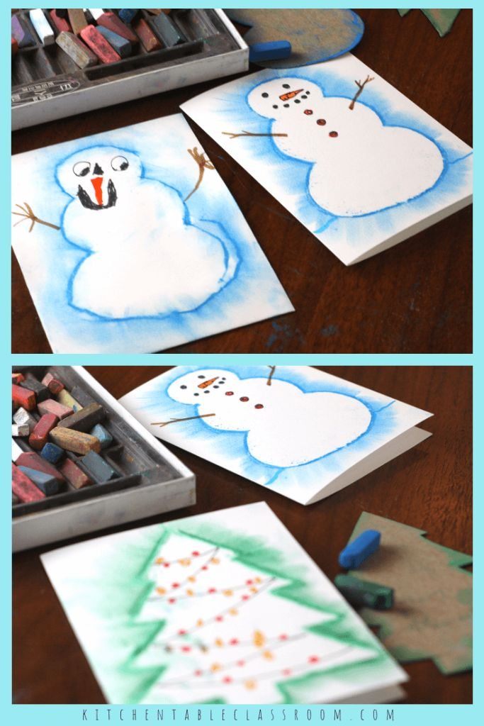 Easy Snowman Drawing with Chalk Pastels
