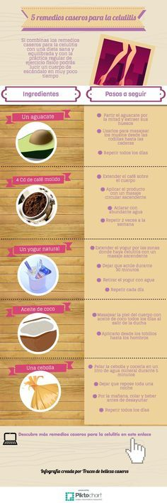 5 remedios caseros para la celulitis. #celulitis #infografia