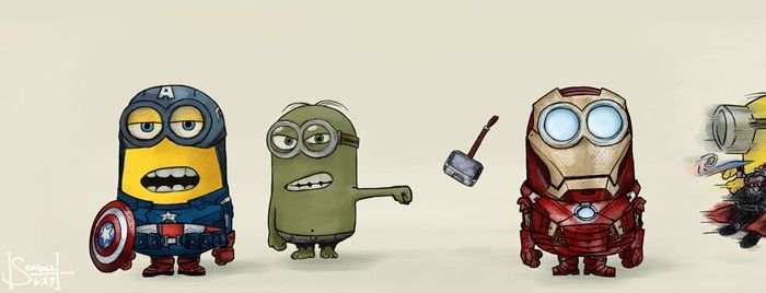 The Avenger characters in the style of Minions.
