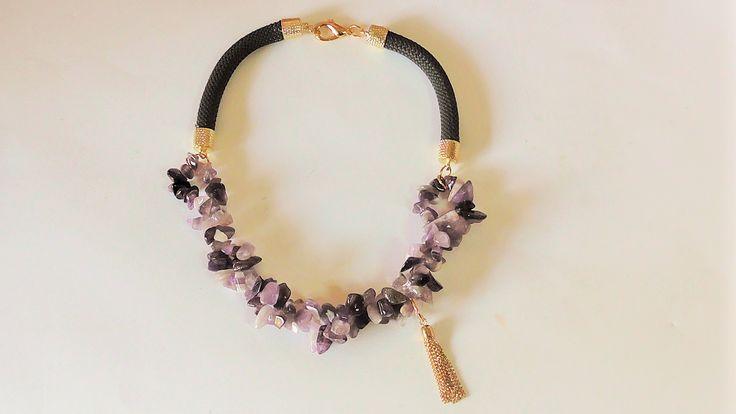 Handmade necklace with semi precious stones.