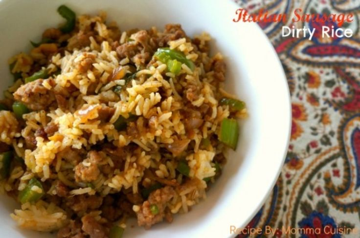 Italian Sausage Dirty Rice Recipe by Momma Cuisine Dirty Rice is a southern dish, most particularly popular and coming from Cajun and Creole country. My version of dirty rice uses Italian sausage, out of it's casing, instead of chopped liver and ground pork. Other southern style rice dishes include Jambalaya...