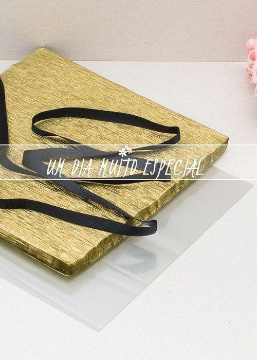 Kit de Embalagem para Bem-casado Dourado/Preto 120 Und