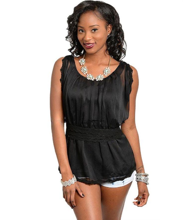 Womens Peplum Top Size L Solid Black Chiffon Overlay Lace Trim Sleeveless #JAJACO #Peplum #Casual