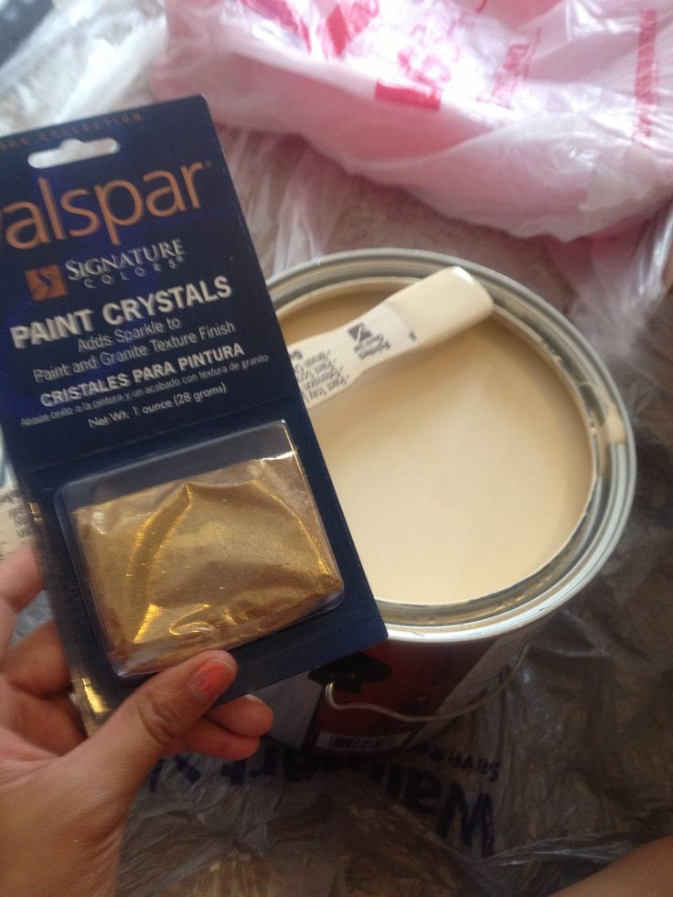 Valspar paint crystals. Depending on how much you add you can have subtle or dramatic glitter in your walls :)