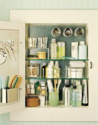 .Ideas, Sheet Metals, Magnets, Cabinet Organization, Martha Stewart, Cabinets Organic, Medicine Cabinets, Bathroom Organic, Bathroom Cabinets