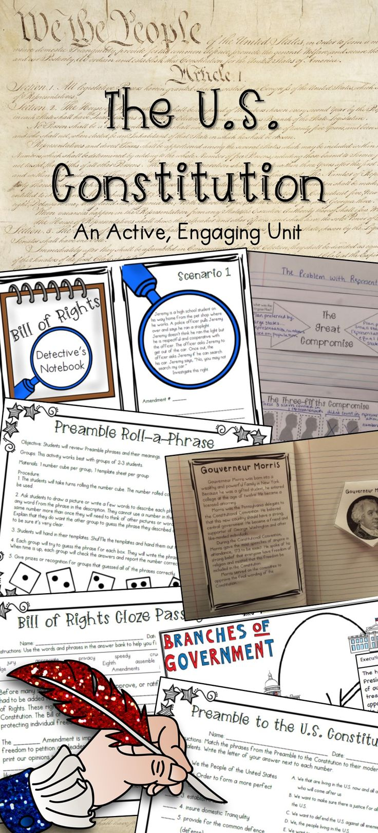 Are you looking for a fresh, engaging, active Constitution unit? You've found it! The activities in this unit will not only help your students learn about the Constitution… they will bring excitement and engagement to your classroom! All of the activities included in this unit are student favorites!