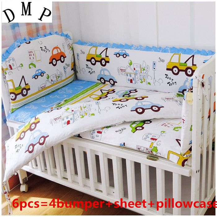 Promotion! 6pcs Linen for Babies in a Crib,Crib Set Good Cotton Embroidered Fabrics Bedding Set (bumpers sheet pillow cover)