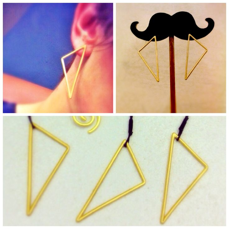 Gold - Plated triangle earrings and pendants