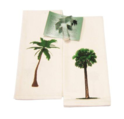 Charming Palm Trees Cotton Dish Towels With Cookie Cutter And Recipe Kitchen Set (4  Items)