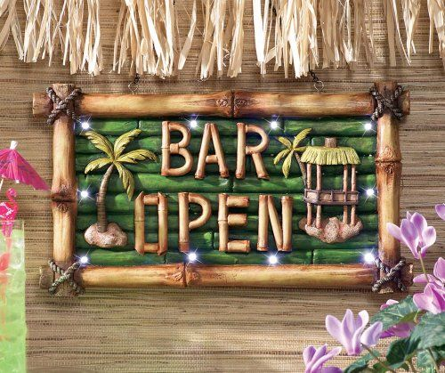 Tiki bar open lighted sign wall decor collections etc http for Bar decor amazon