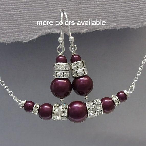 Plum Jewelry Set Swarovski Blackberry Pearl by alexandreasjewels