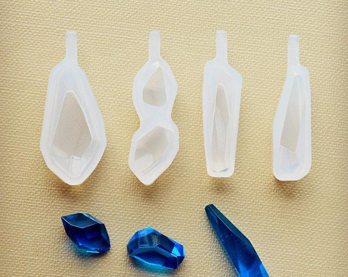 2pcs Stone Ornament Pendant Silicone Mold Resin Casting Mould Jewelry Making