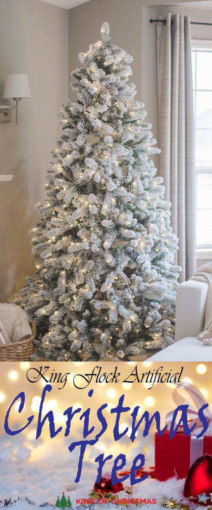 9 Foot King Flock Artificial Christmas Tree With 1100 Warm White LED Lights  + Power Pole 9 Feet Tall 58″ Wide Hinged Sections for easy setup One light  burns ... - 9 Foot King Flock Artificial Christmas Tree With 1100 Warm White LED