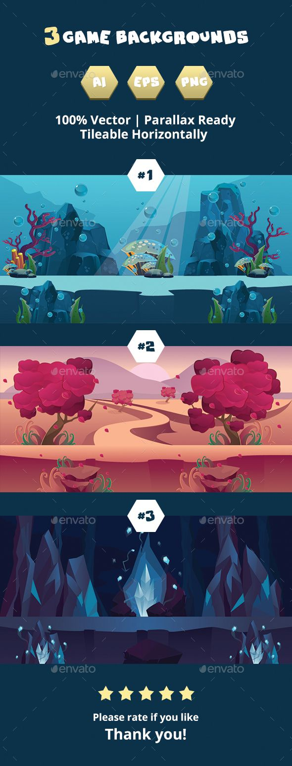 3 Game Backgrounds — Vector EPS #indie #landscape • Available here → https://graphicriver.net/item/3-game-backgrounds/15934177?ref=pxcr