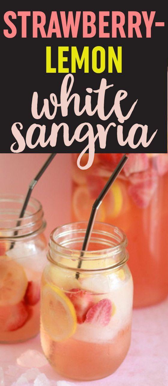 White Strawberry-Lemon Sangria recipe - Strawberries, lemon, apples, white wine, and rum make a perfect summer sangria that'll knock your socks off.