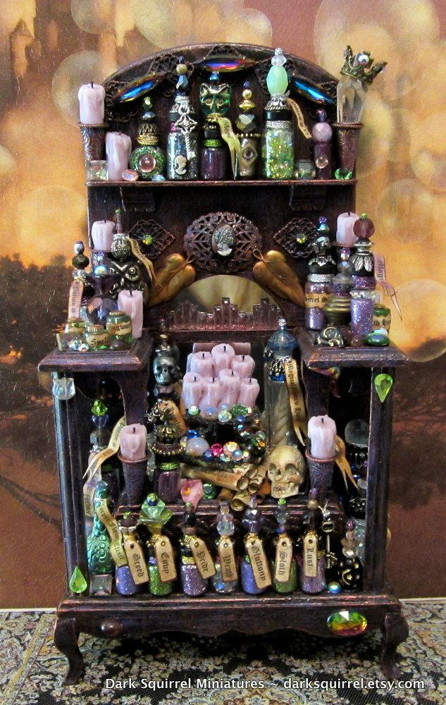Elegant Witch Potion Cupboard ooak dollhouse miniature in one inch scale. $125.00, via Etsy.