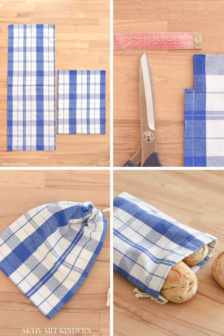 Baumwollsäckchen / Brotbeutel selbst nähen. Aus alten Küchentüchern. – Aktiv mit Kindern