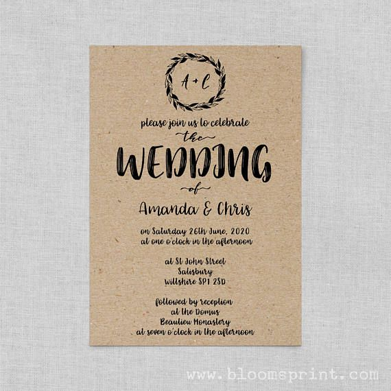 Rustic Wedding Invitations Printable Kraft