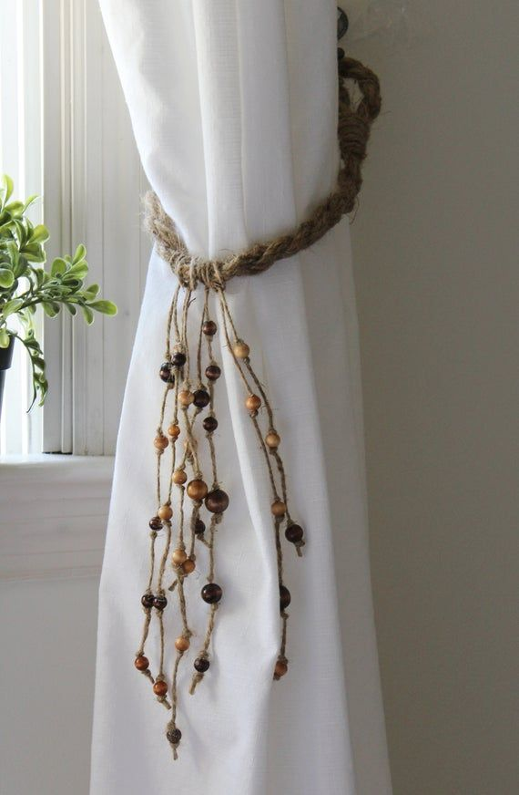 Boho Curtain Tie Backs With Wood Beads Etsy In 2020 Curtain Tie Backs Boho Curtains Rope Curtain Tie Back