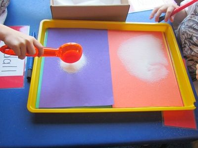 I really like this idea of having the kiddos set up their salt trays with their choice of colored paper--but definitely use the index finger for drawing & writing! Varying the material (corn meal, flour, grits, and even using pudding) helps reinforce prewriting shapes and letter formation.