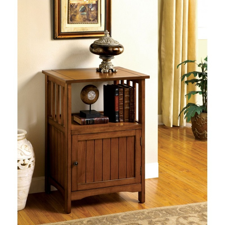 CM AC1280 Telephone Stand With Single Door. Wood Side TablesEnd ...