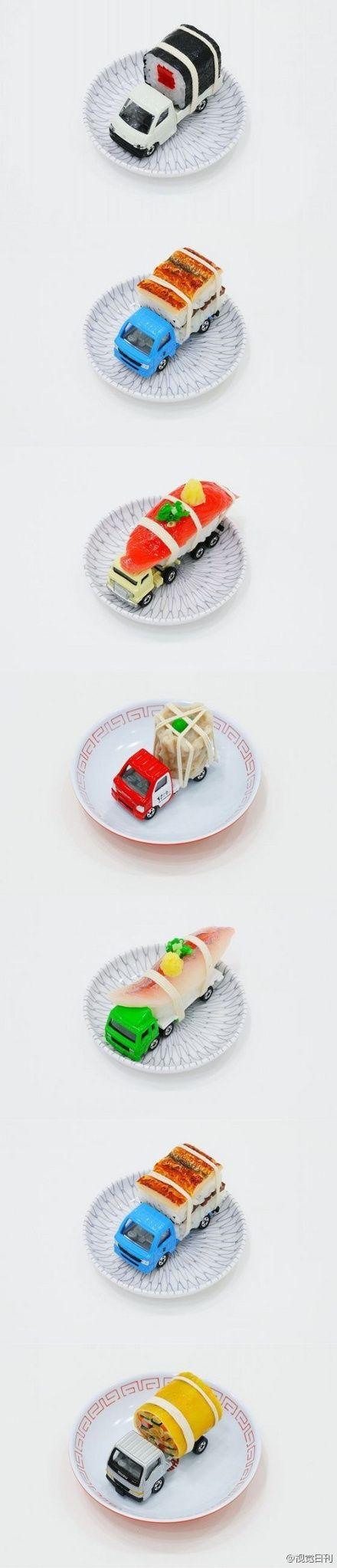 :『卡车寿司』日本Paramodel公司最近制作了一些卡车寿司,寿司装在这些小小的卡车模型中,不仅好吃还很好玩可爱。除了寿司之外,还有烧卖煎饺之类的小吃。可惜这个东西也是售价不菲,一辆卡车寿司要价270美元!