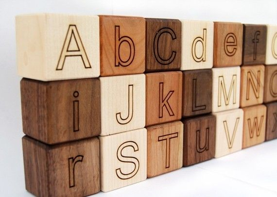Beautiful Alphabet wooden blocks, finished with all natural jojoba oils and bees wax.   Also part of the purchase goes to planting trees. Can't beat that!