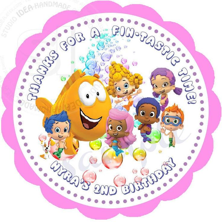 "Custom Bubble Guppies Printable 2.5"" Tags-Personalized Birthday 2.5 inches Tags- Stickers- DIY -Bubble Guppies Party Favor Tags by StudioIdea on Etsy"
