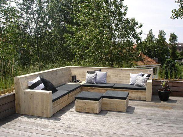 Portfolio & Inspiratie - Steigerhout & Zo - Categorie: Buitenmeubels - Foto: Loungebank hoek Resi met kussens