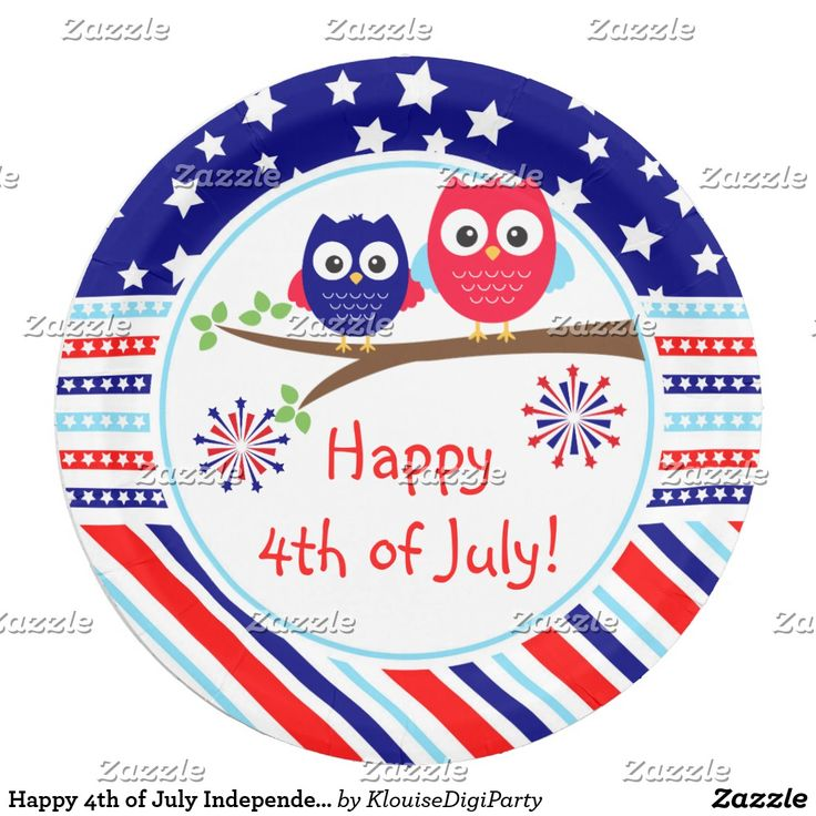 Happy 4th of July Independence Day Owls Paper Plate