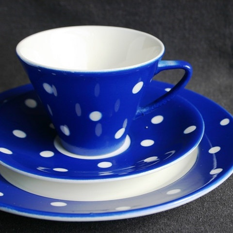 The beautiful polka dot blue cup by MademoiselleChipotte on Etsy, $54.00