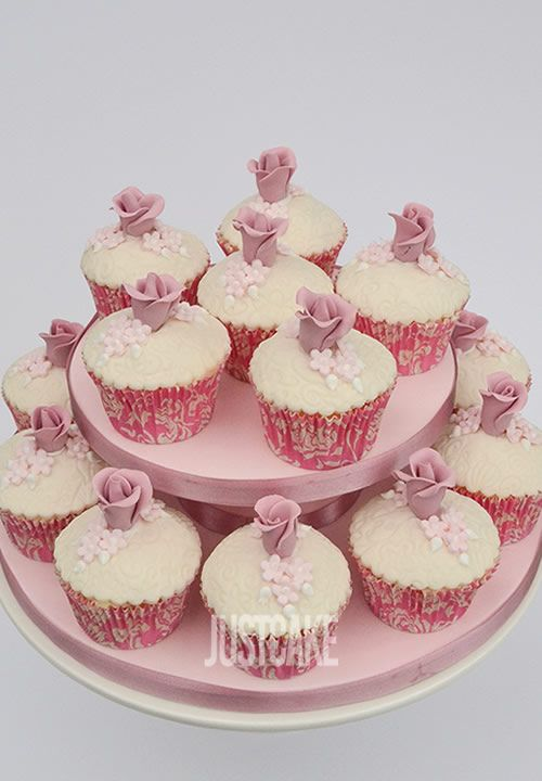 Pink Flowers Birthday and Wedding Cupcakes by Just Cake in Norfolk