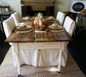 $10 Yard Sale Find: Antique Farm Table And Fall Tablescape I LOVE THIS!!