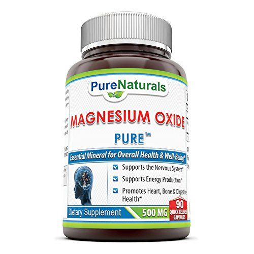 Pure Naturals Magnesium Oxide Supplement - 500mg, 90 Quick Release capsules- Essential Mineral For Healthy