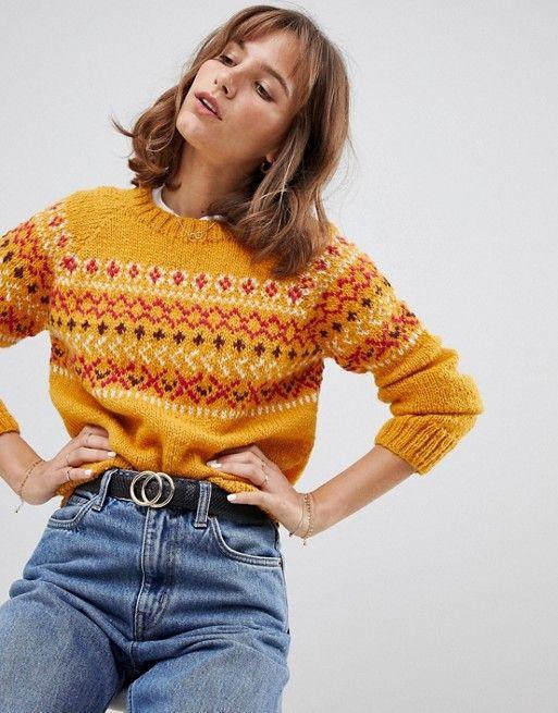 1f9bafa6a14ee People Tree Hand Knitted Sweater In Fair isle Knit in 2019 ...